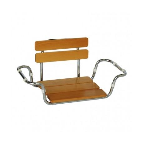 Sedile da vasca in legno con schienale